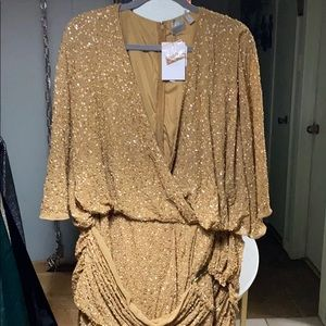 Gold matte sequin and beaded dress.